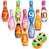 iBaseToy Kids Bowling Toy Set, Foam Ball Toys, Indoor Outdoor Bowling Games for Children/Toddlers/Boys/Girls for Early Development/Sport/Preschool (10 Pins & 2 Bowling)
