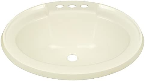 17 x 20 Bone Oval Lavatory Sink for Mobile Homes Includes Drain