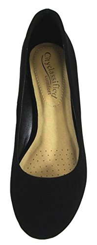 City Classified Womens Classic Round Toe Block Heel Pump Black Nbpu PF1FTxmC