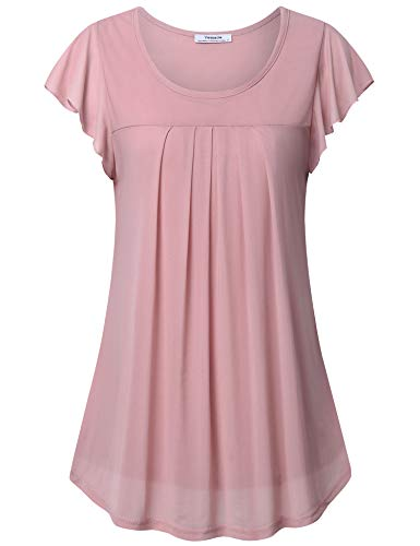 Youtalia Women's Plus Size Blouses, Ladies Short Sleeve Blouse for Work Round Neck Pleated Front Top Soft Double Layers Casual Tunic Shirts Dark Pink XX-Large