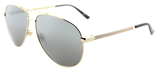 Gucci Men,Women GG0137S 61 Gold/Grey Sunglasses 61mm