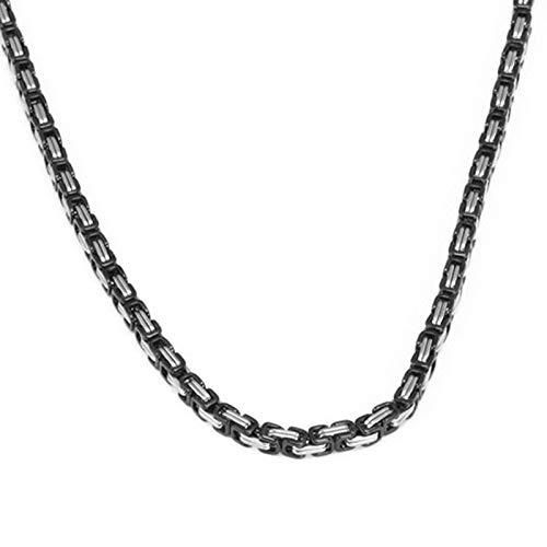 Epinki Acero Titanio Hombre Collar Cuadrado Forma Cadena de los Hombres Colgante del Acero Inoxidable Plata Negro