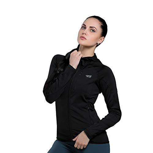 Infinite Role Women's Hoodie, for Yoga Full Zip Sweatshirt, Long Sleeve Jacket Thermal Running Outwears Lightweight (Spandex Thermal Sweatshirt)