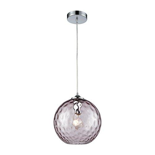 Watersphere 1 Light Pendant (Elk Lighting 31380/1PRP Watersphere - One Light Pendant, Polished Chrome Finish with Purple Hammered Glass)