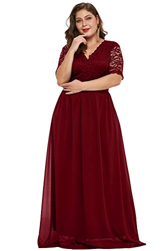 Burgundy Women's Short Sleeve Maxi Lace Chiffon Patchwork V Neckline Scalloped Trim High Waist Wide Waistband Plus Size Evening Party Dress Ball Gowns XXL