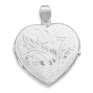 Sterling Silver Large Etched Heart Locket 36x30mm Locket Holds 2 Pictures (Etched Heart Locket)