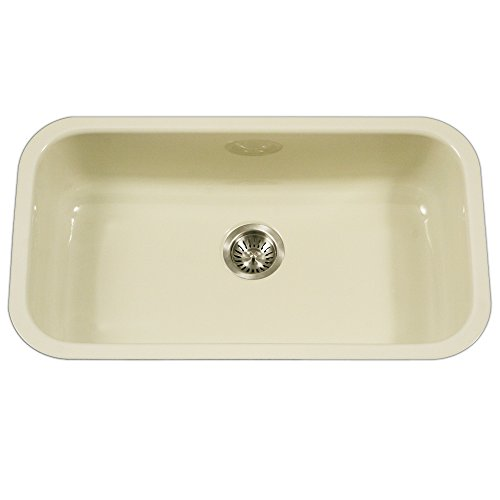 Houzer PCG-3600 BQ Porcela Series Porcelain Enamel Steel Undermount Single Bowl Kitchen Sink, Large, Biscuit (Kitchen Porcelain Sink)