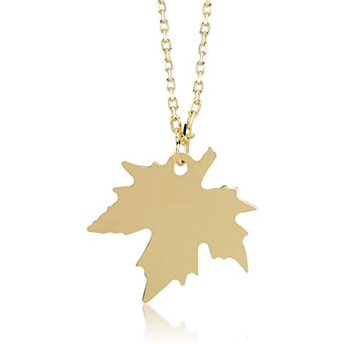 Gelin 14k Solid Gold Maple Leaf Pendant Chain Necklace for Women 18