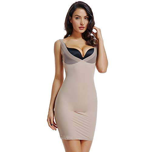 Full Slips for Women Under Dresses Tummy Control Shapewear Slip Slimming Body Shaper Slip(Nude,XL)
