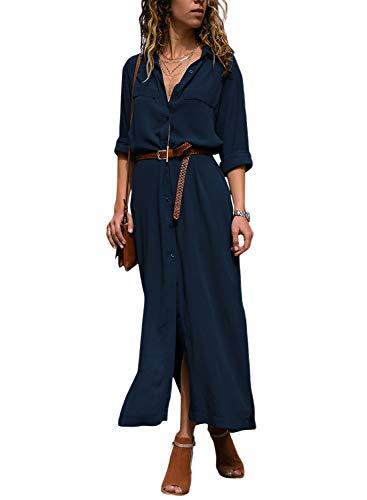 Les Femmes Lovezesent Manches Longues Bouton Split Casual Robe Chemise Maxi Avec Ceinture Bleu Foncé