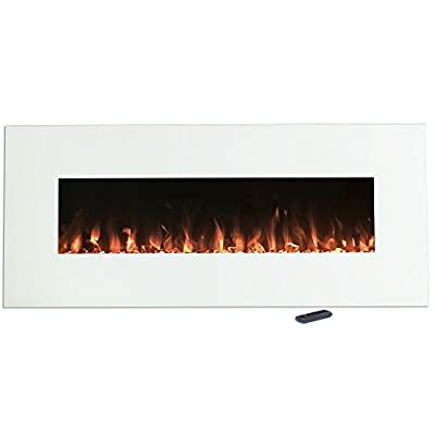 Electric Fireplace Wall Mounted, Color Changing LED Flame and Remote, 50 Inch By Northwest (White)