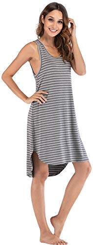 - GYS Women's Soft Bamboo Scoop Neck Nightgown, Large, Stripe