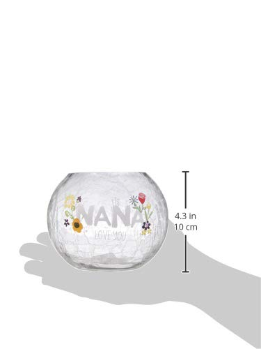 5 Inch-Tealight Not Included 5 Pavilion Gift Company Nana Love You-Crackled Glass Floral Round Candle Holder
