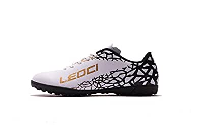 LEOCI Performance Turf Soccer Shoes - Men and Boy Soccer Shoes Indoor Soccer Cleat White Size: 1.5