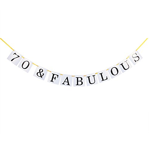 70 & Fabulous Banner - Happy 70th Birthday Party Sign Decorations (Ribbon F70)