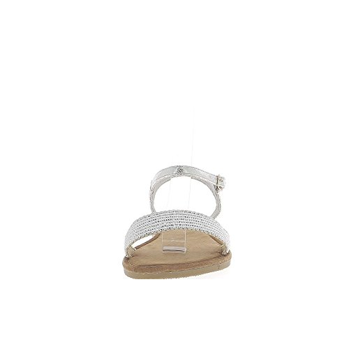 Flange Larga Sandálias Prata Com Cinzento Dianteira rz6twx6q