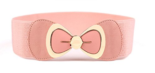 (Women Vintage Waist Belt Wide Elastic Stretch Retro Cinch Belt (Pink))