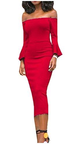 Womens Elegante Senza Vestito Metà Ginocchio Comodi Rosso Clubwear Spalline Lunghezza Solida rzWx5rw8qn