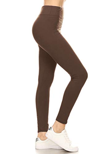 LYR128-MOCHA Yoga Solid Leggings, One Size