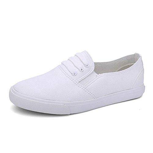 York Zhu Women Fashion Sneakers, Black White Breathable Slip on Casual Flats
