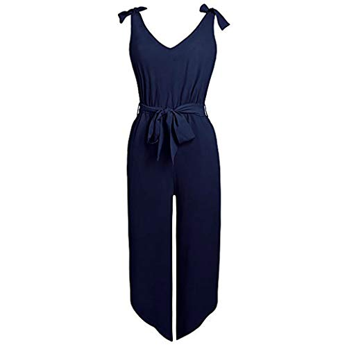 f00108590cf Yesyes Women Outfit Sleeveless Shoulder Bandage Waistband Sexy V-Neck Wide  Leg Long Jumpsuit with