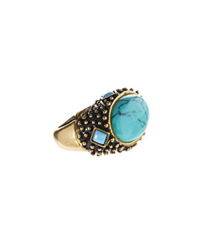 Face Stretch Fashion Ring (Lux Accessories Synthetic Turquoise & Goldtone Milgrain Stretch Ring)