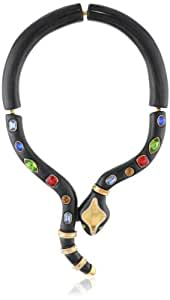 """KARA by Kara Ross Snake, Ebony Resin with Gold and Crystals Collar Necklace, 9"""""""
