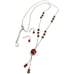 Linpeng Fiona Hand Painted Christmas Tree Bead/Crystal Beads Necklace and Earrings Set