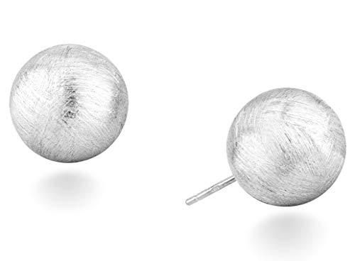 MiaBella 925 Sterling Silver Italian Brushed Bead Ball Stud Post Earrings for Women, Girls, Men (10mm)