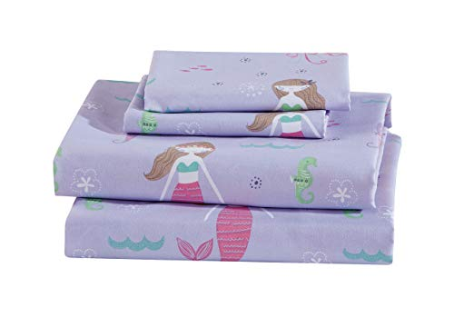 Luxury Home Collection 4 Piece Queen Size Sheet Set Girls/Teens Mermaid Jelly Fish Seahorse Sea Purple Green Pink