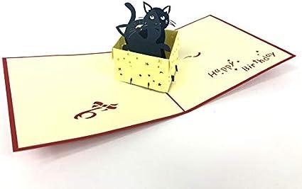 Partecipazioni Matrimonio Kirigami.Biglietto Di Compleanno Pop Up 3d Con Un Gatto In Carta Kirigami