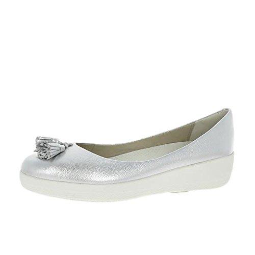Fitflop Cuero Borla Superballerina Zapatos Plata UK7 Plata