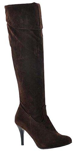 Europäischen Stil Ritter Stiefel fein mit seitlichem Reißverschluss hochhackigen Stiefel Overknee-Stiefel braun nubuck