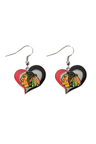 - NHL Chicago Blackhawks Swirl Heart Earrings