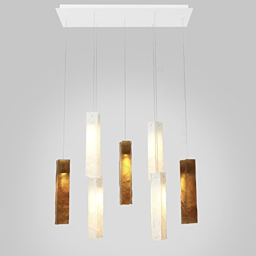 - 7 White & Amber Long Drops Led Rectangular Chandelier. Powder Coated Metal in Flat White/Sparkle Silver. Handmade by AM Studio.