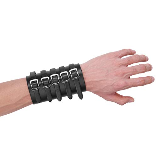 Freebily Unisex Faux Leather Archery Gauntlet Wristband Wide Bracer Arm Armor Cuff Black Five Buckles One ()