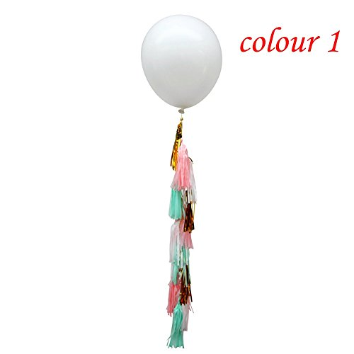 Xiaolanwelc@ 1pc Balloon Tissue Tassel Tail Tassel Balloon Wedding Photo Prop Bridal Showers Receptions Birthday Engagement Party Decoration (color 1)