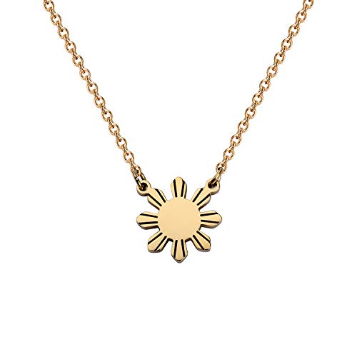 MYOSPARK Philippines Sun Necklace Philippines Star Necklace Philippine Pride Necklace Philippines Jewelry Gift for Filipino (Philippines Sun Necklac) (Philippines Necklace)