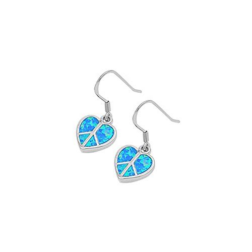 Noureda Sterling Silver Fancy Peace Sign Heart with Blue Lab Opal Inlaid Earwire Style, Face Height of 15MM
