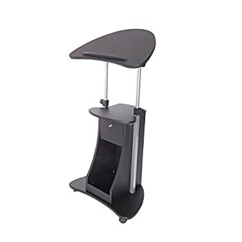 Techni Mobili Deluxe Rolling Laptop Cart with Storage, Black