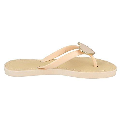 Ladies Spot On Glam Metal Heart Toe Post Sandals Nude (Beige) pc2V7F9dx8
