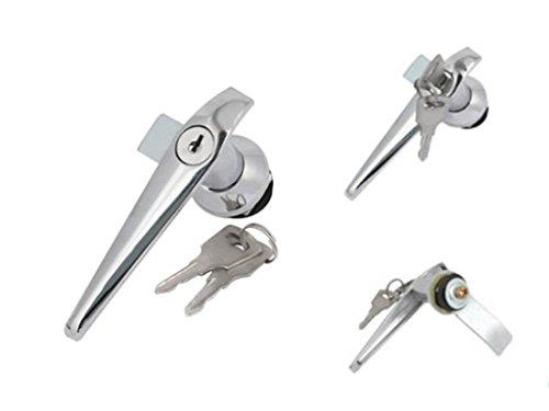 Door Cupboard Lever Key L Shape Handle Lock w Keys Silver Tone by DCS