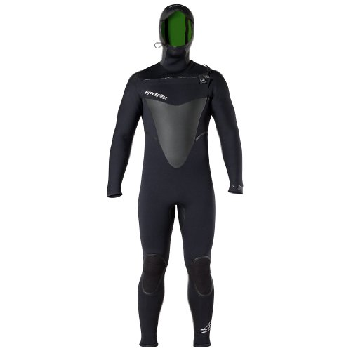 Hyperflex Wetsuits Men's Voodoo 6/5/4mm Hooded Front Zip Fullsuit, Black, Large - Wetsuit Mens Best