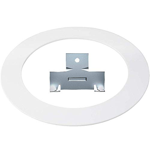 10 Pack White Plastic Trim Ring and 10 Pairs of Retrofit Recessed Downlight Housing C Clips Combo