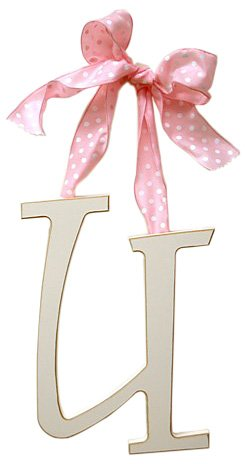 - New Arrivals Wooden Letter U with Pink Polka Dot Ribbon, Cream
