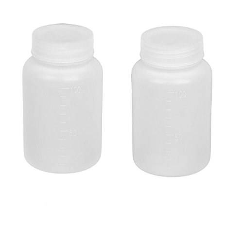 100ml Lab Plastic Bottle Wide Mouth Double Cap Leakproof Empty Portable Solid Powder Sealing Liquid Medicine Chemical Bottles Pill Tablet Holder Storage Container Case Box White 2-Pack