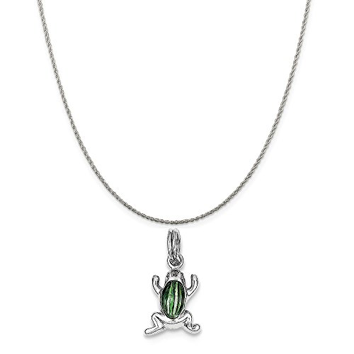 (Mireval Sterling Silver Green Enamel Frog Charm on a Sterling Silver Rope Chain Necklace, 20