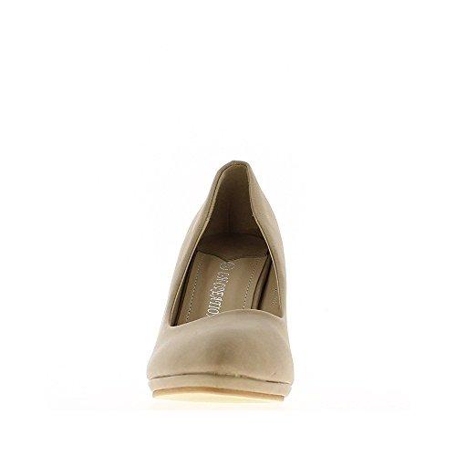 Zapatos de mujeres taupe agudo tacón de 8,5 cm