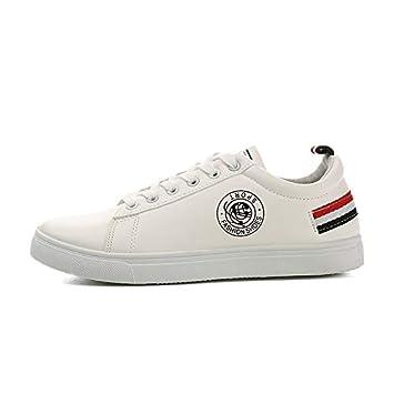 AIMENGA Zapatos De Placas Blancas Zapatos De Hombres Blancos Rayas ...