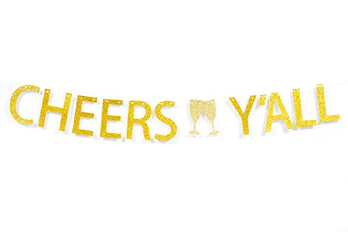 Qttier Cheers Y'All Gold Glitter Bunting Banner for Baby Shower Birthday Bachelorette Bridal Shower Wedding Engagement Party Decorations -